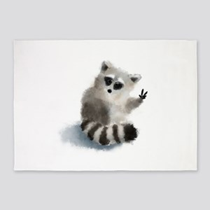 Raccoon says hello! 5'x7'Area Rug