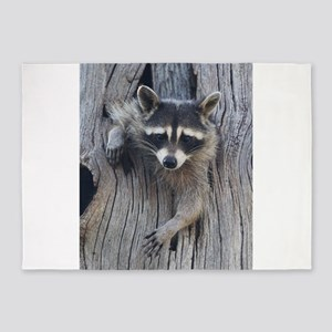 Raccoon in a Tree 5'x7'Area Rug