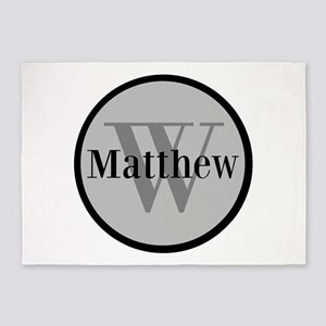 best service b3dfe 0488e Gray Name and Initial Monogram 5 x7 Area Rug