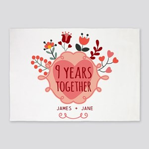 Personalized 9th Anniversary 5'x7'Area Rug