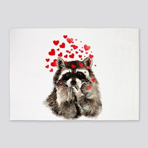 Raccoon Blowing Kisses Cute Animal Love 5'x7'Area