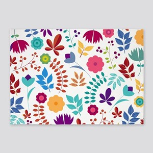 Cute Whimsical Floral Boho Chic 5'x7'Area Rug