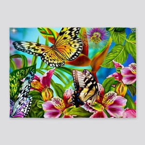 Beautiful Butterflies And Flowers 5'x7'Area Rug