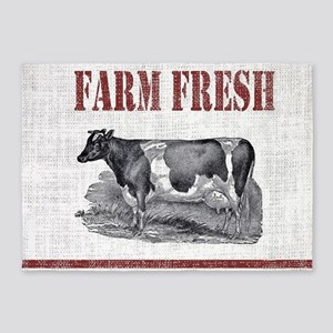 Country Chic Cow Farmhouse 5 X7 Area Rug