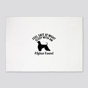 Sleep With Afghan Hound Dog Designs 5'x7'Area Rug