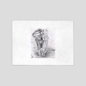 African Elephants 5'x7'Area Rug