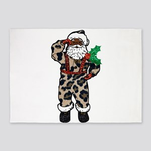 african leopard santa claus 5'x7'Area Rug