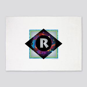 R - Letter R Monogram - Black Diamo 5'x7'Area Rug