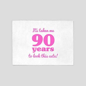 Cute 90th Birthday For Women 5'x7'Area Rug