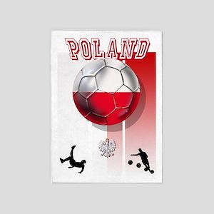 Poland Football Soccer 5'x7'Area Rug