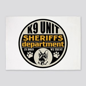 K9 In Dogs We Trust Sheriffs Depart 5'x7'Area Rug