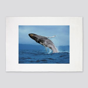 Humpback Whale Leap 5'x7'Area Rug
