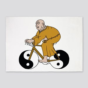 Buddha Riding A Bike With Yin Yang 5'x7'Area Rug