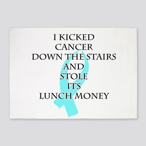 Cancer Bully (Light Blue Ribbon) 5'x7'Area Rug