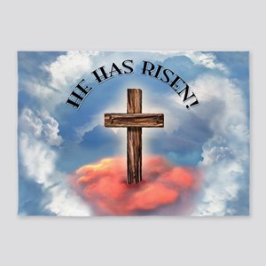 He Has Risen Rugged Cross With Clou 5'x7'Area Rug