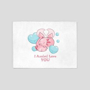 Cute Axolotl Love You 5'x7'Area Rug