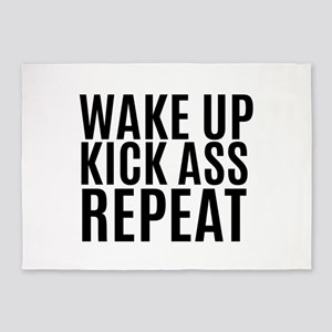 Wake Up Kick Ass Repeat 5'x7'Area Rug