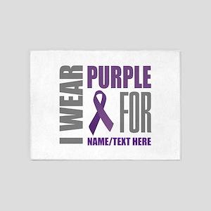 Purple Awareness Ribbon Customized 5'x7'Area Rug