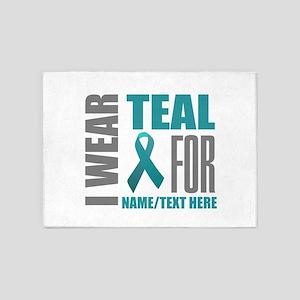 Teal Awareness Ribbon Customized 5'x7'Area Rug