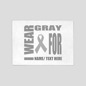 Gray Awareness Ribbon Customized 5'x7'Area Rug