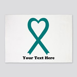Personalized Teal Awareness Ribbon 5'x7'Area Rug