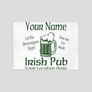 Custom Irish pub 5'x7'Area Rug