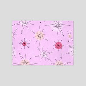 Pink Atomic Era Art 5'x7'Area Rug