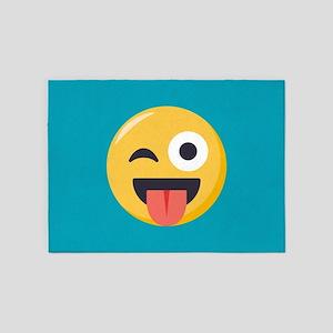 Winky Tongue Emoji 5'x7'Area Rug