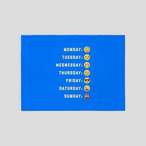 Emoji Days of the Week 5'x7'Area Rug