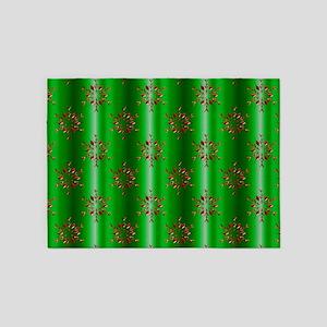 Red Christmas Stars on Green 5'x7'Area Rug