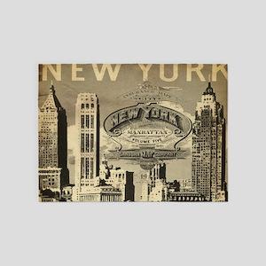 Vintage USA New York 5'x7'Area Rug