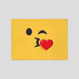 Winky Kiss Emoji Face 5'x7'Area Rug