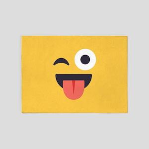 Winky Tongue Emoji Face 5'x7'Area Rug
