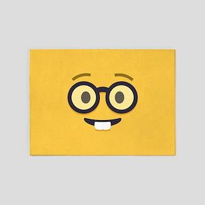 Nerdy Emoji Face 5'x7'Area Rug