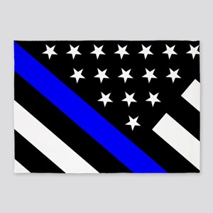Police Flag: Thin Blue Line 5'x7'Area Rug