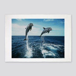 Twin Dolphins 5'x7'Area Rug