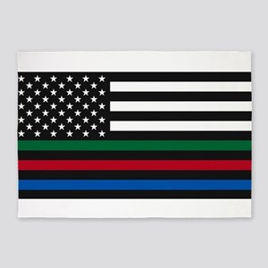 Thin Blue Line Decal - USA Flag - R 5'x7'Area Rug