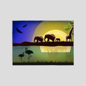 Animals African Landscape 5'x7'Area Rug