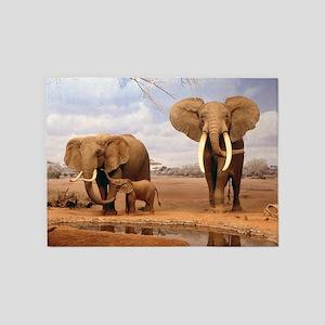 Family Of Elephants 5'x7'Area Rug