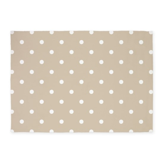 Brown Beige Polka Dots Pattern S 5 X7 Area Rug By Colors And Patterns 1 Cafepress
