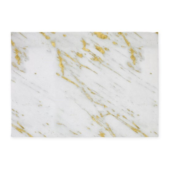 White And Gold Marble Texture 5 X7 Area Rug By Artonwear Cafepress