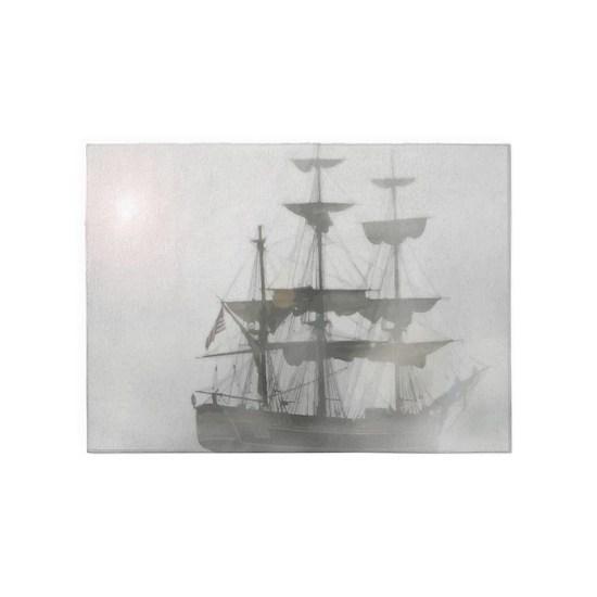 Grey Gray Fog Pirate Ship 5 X7 Area Rug By Countrymousestudio Cafepress