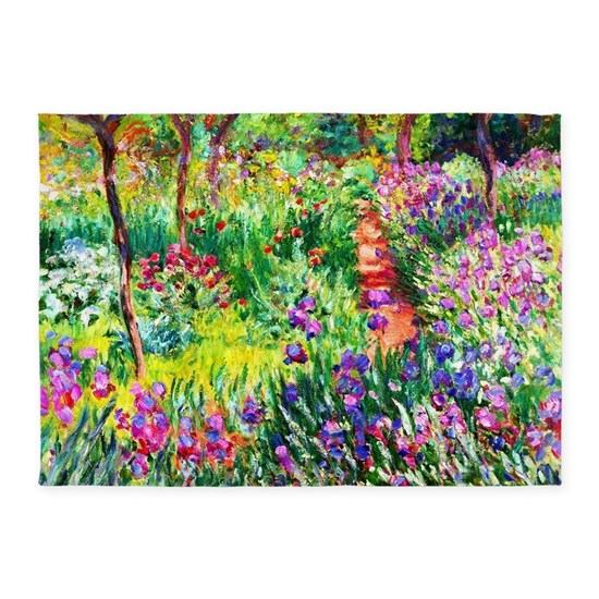 Iris Garden At Giverny Monet 5 X7 Area Rug By Fractal Art By Vicky