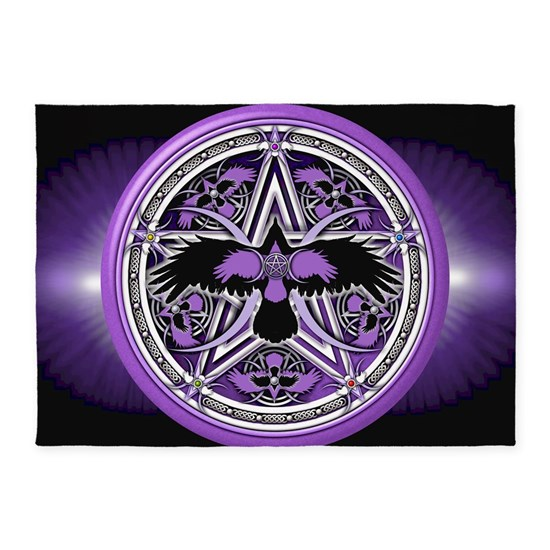 Purple Crow Pentacle Banner 5 X7 Area