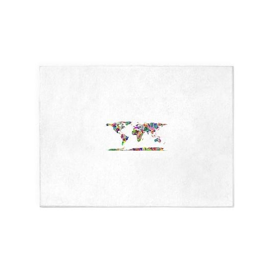 Rainbow Paint Splatter World Map 5\'x7\'Area Rug