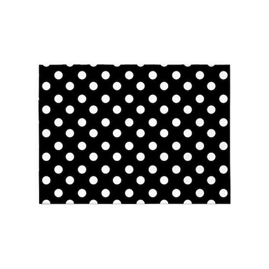 White Polka Dots Pattern 5 X7 Area Rug