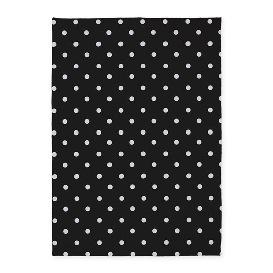 Black And White Polka Dot 5 X7 Area Rug