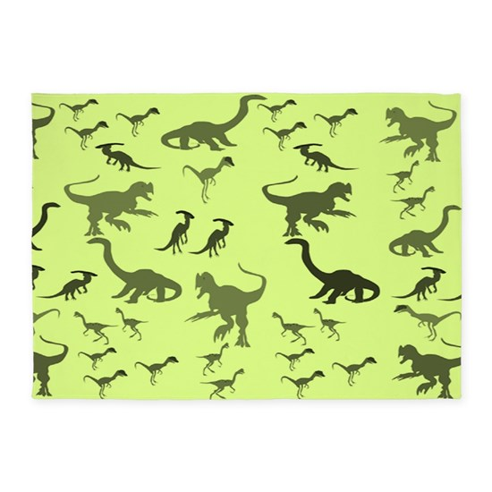Green Dinosaurs 5'x7'Area Rug By CanoeComs