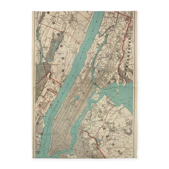 Vintage Map Of New York City (1890) 5'x7'Area Rug By