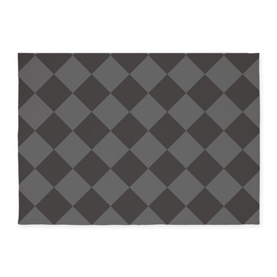 Checked Black Grey Rug: Dark Grey Diamond Checkered 5'x7'Area Rug By Theoldworld
